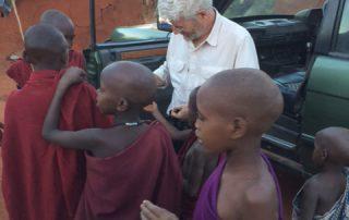 Johnny with Tanzanian kids